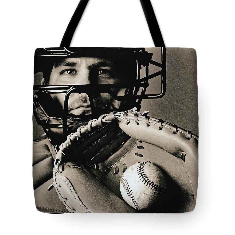 Baseball Catcher Tote Bag featuring the photograph Close-up Of Catcher by Anthony Saint James