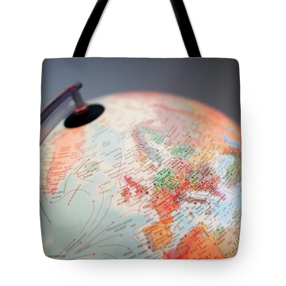 Globe Tote Bag featuring the photograph Close-up Of Globe by Kindler, Andreas