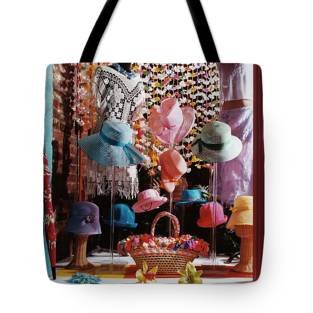 Straw Hat Tote Bag featuring the photograph Clothing Store Window Display by Silvia Otte