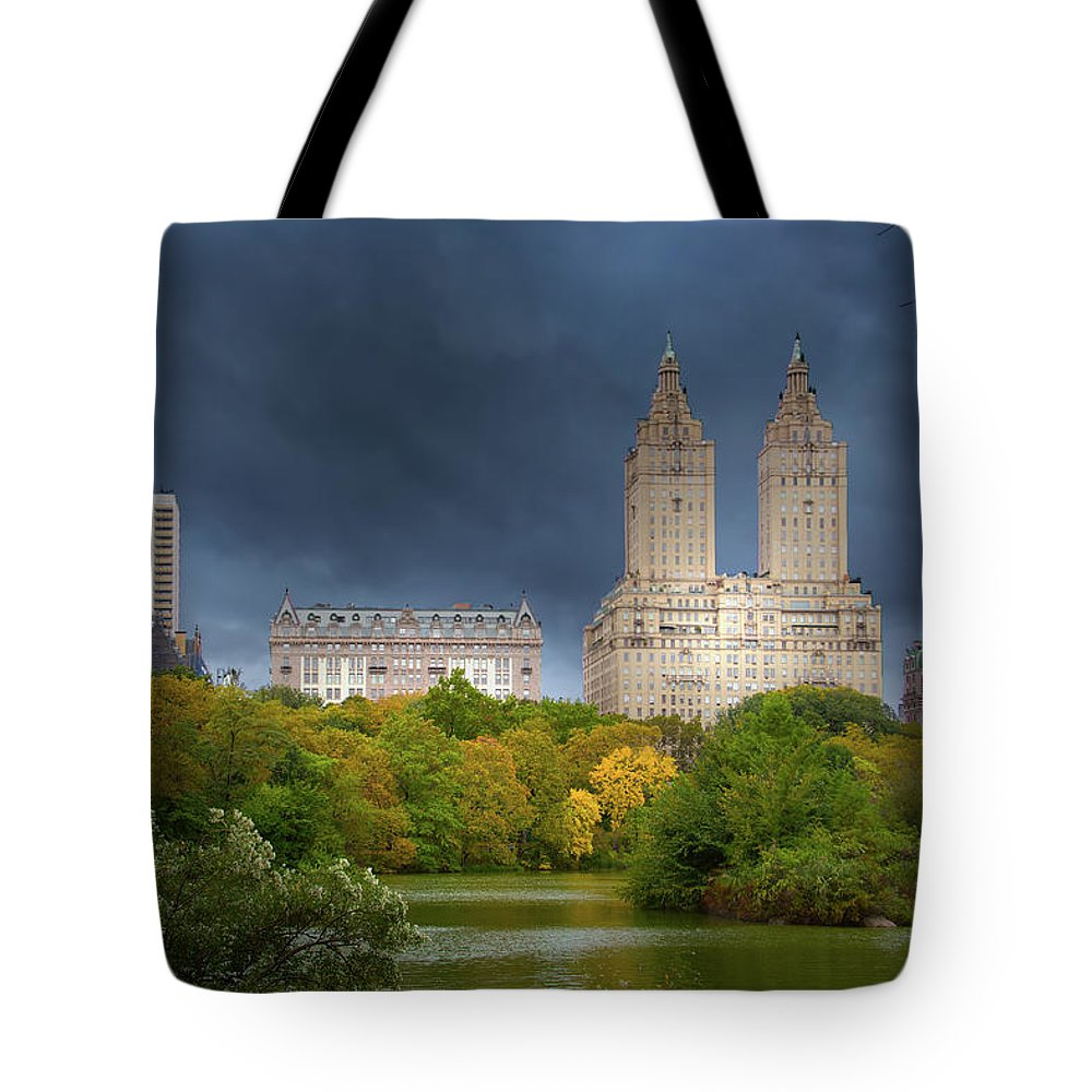 New York City Tote Bag featuring the photograph Clouds Over Central Park by Mark Andrew Thomas