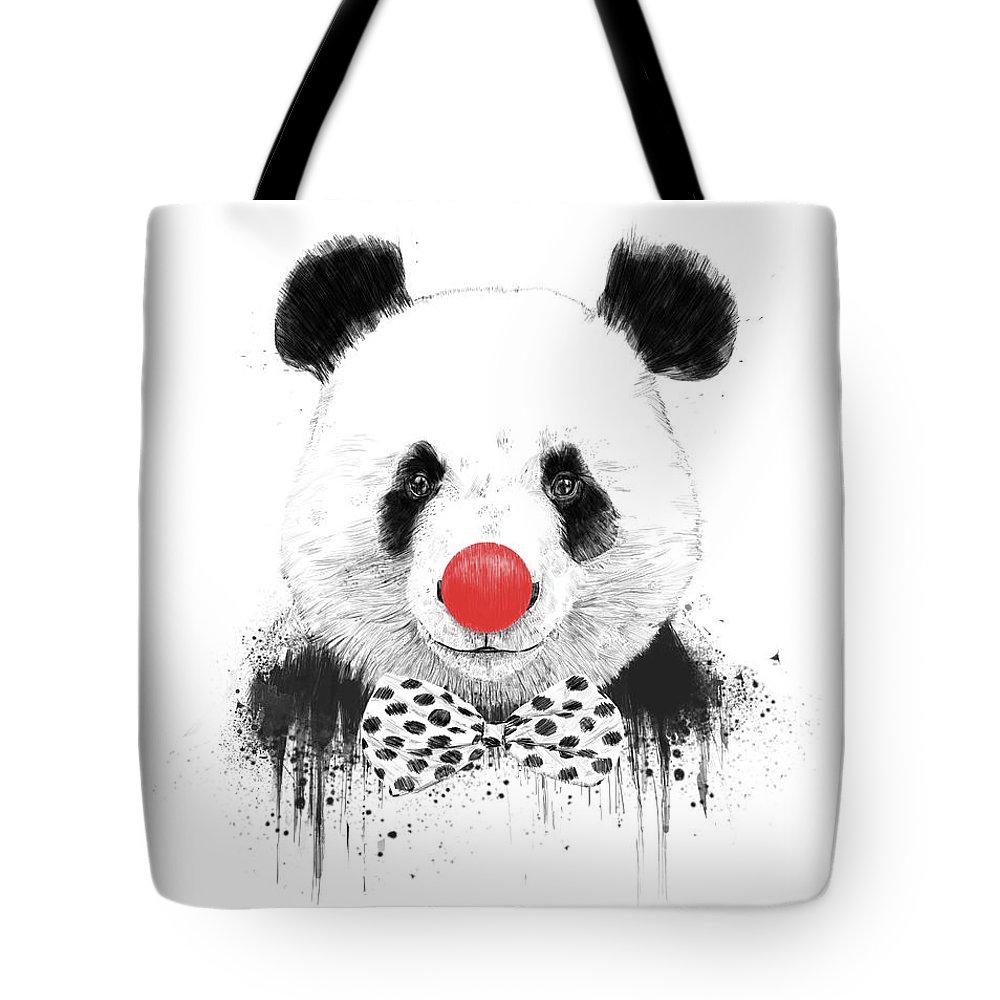 Panda Tote Bag featuring the mixed media Clown Panda by Balazs Solti