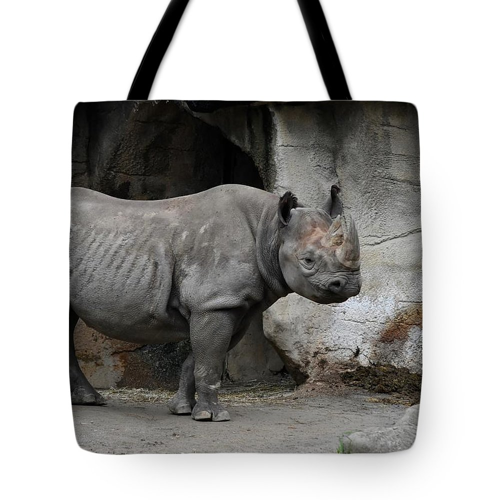 Rhino Tote Bag featuring the photograph Coat Of Armor by Laurie Hein