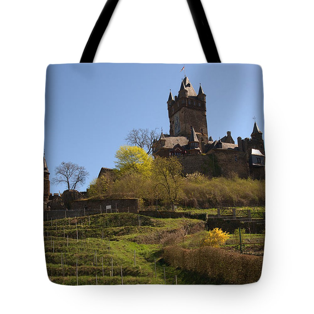 Castle Tote Bag featuring the photograph Cochem Castle And Vineyard In Germany by Victor Lord Denovan
