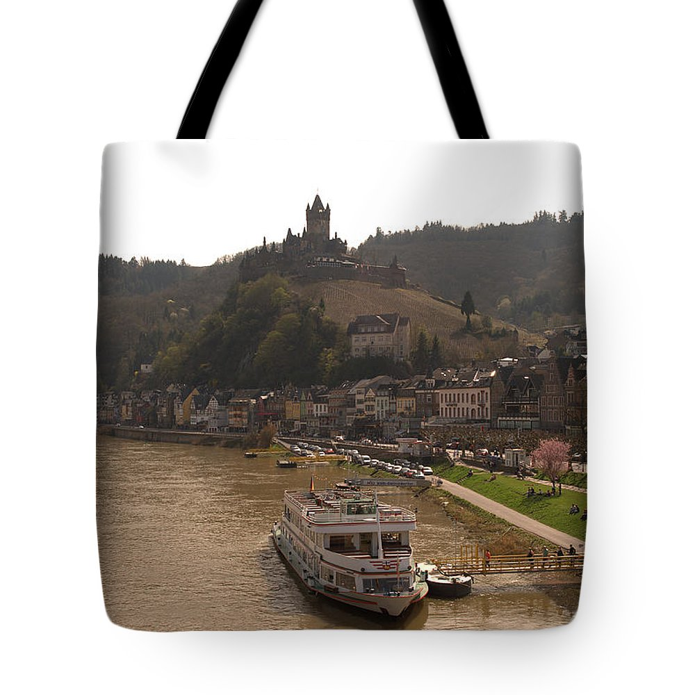 Castle Tote Bag featuring the photograph Cochem Castle, Town And River Mosel In Germany by Victor Lord Denovan