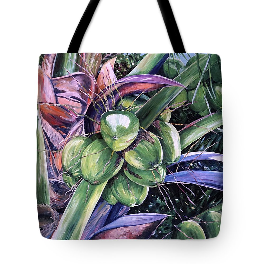 Poinciana Tote Bag featuring the painting Coconuts  14x26 by John Clark