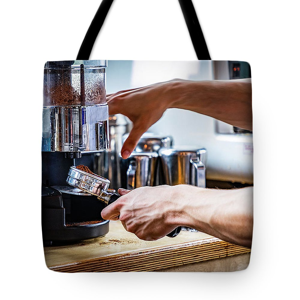 Barista Tote Bag featuring the photograph Coffee Prep by Ant Pruitt
