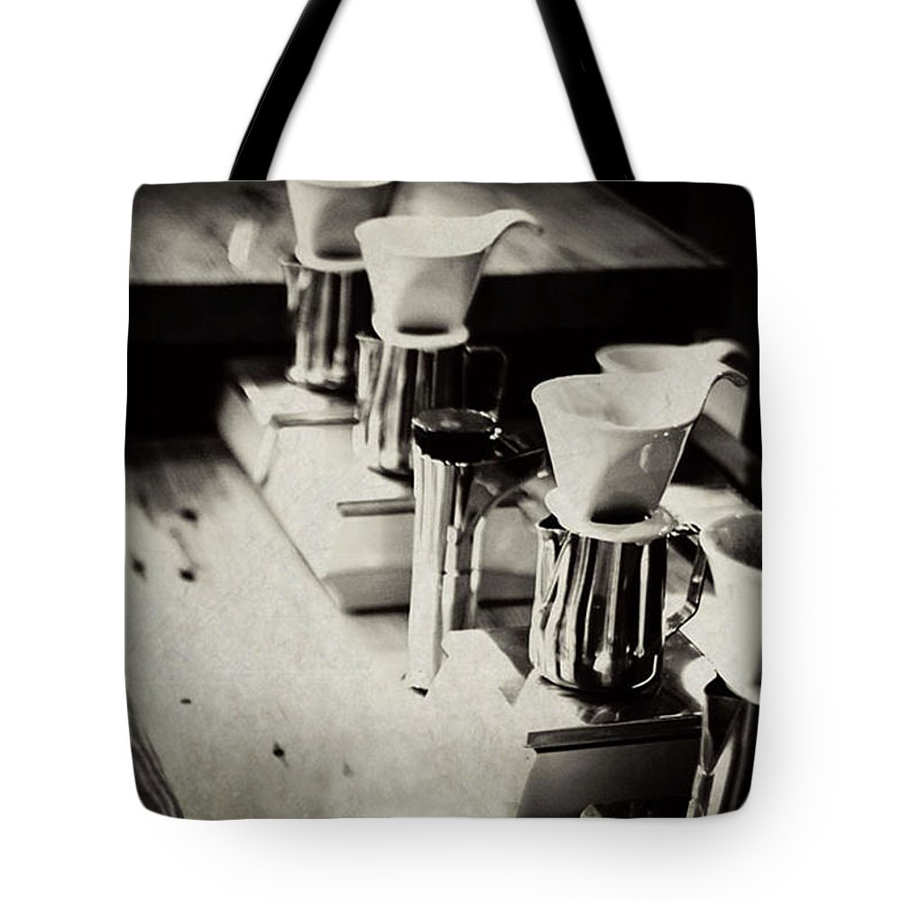 Retail Tote Bag featuring the photograph Coffee Shop by Hilde Wegner . Photography
