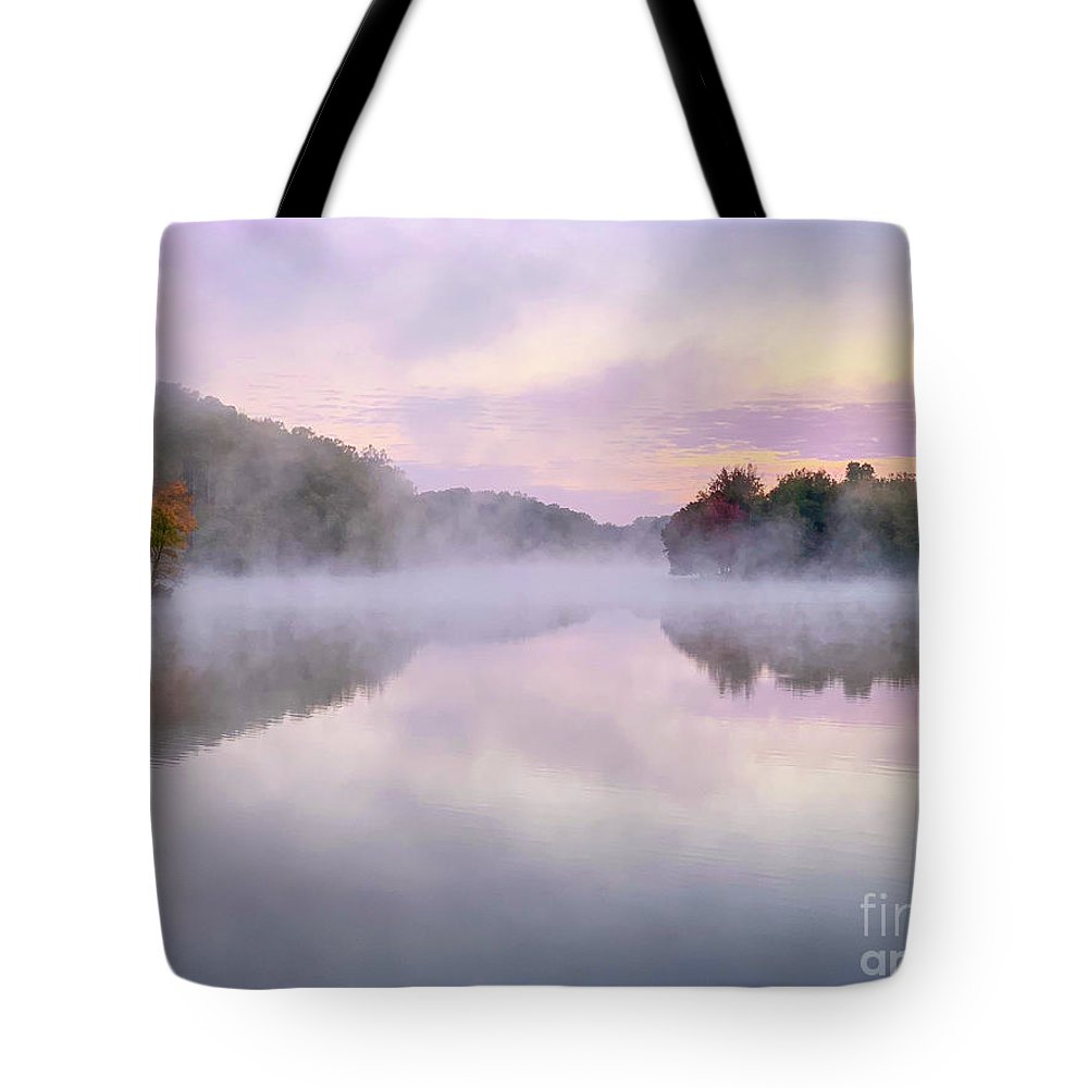 Landscape Tote Bag featuring the photograph Cold Autumn Morning By A Lake by Izet Kapetanovic
