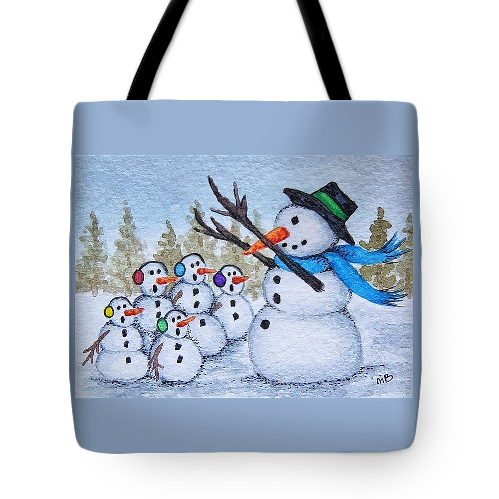 Snowman Tote Bag featuring the painting Cold Choir by Michele Bolling