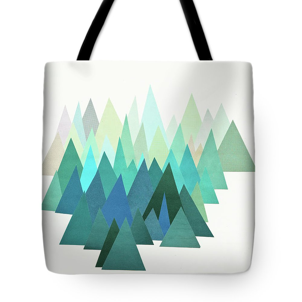 Mountains Tote Bag featuring the mixed media Cold Mountain by Cassia Beck
