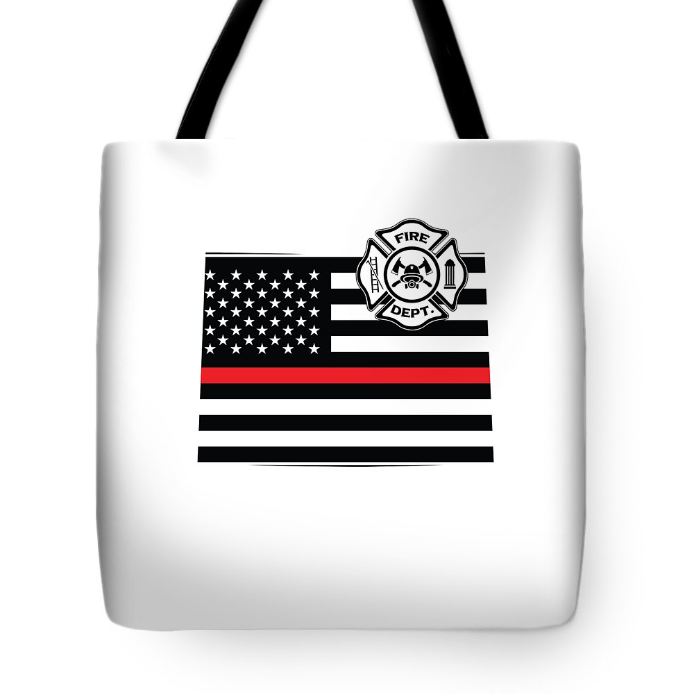 Firefighter-appreciation Tote Bag featuring the digital art Colorado Firefighter Shield Thin Red Line Flag by The French Seller