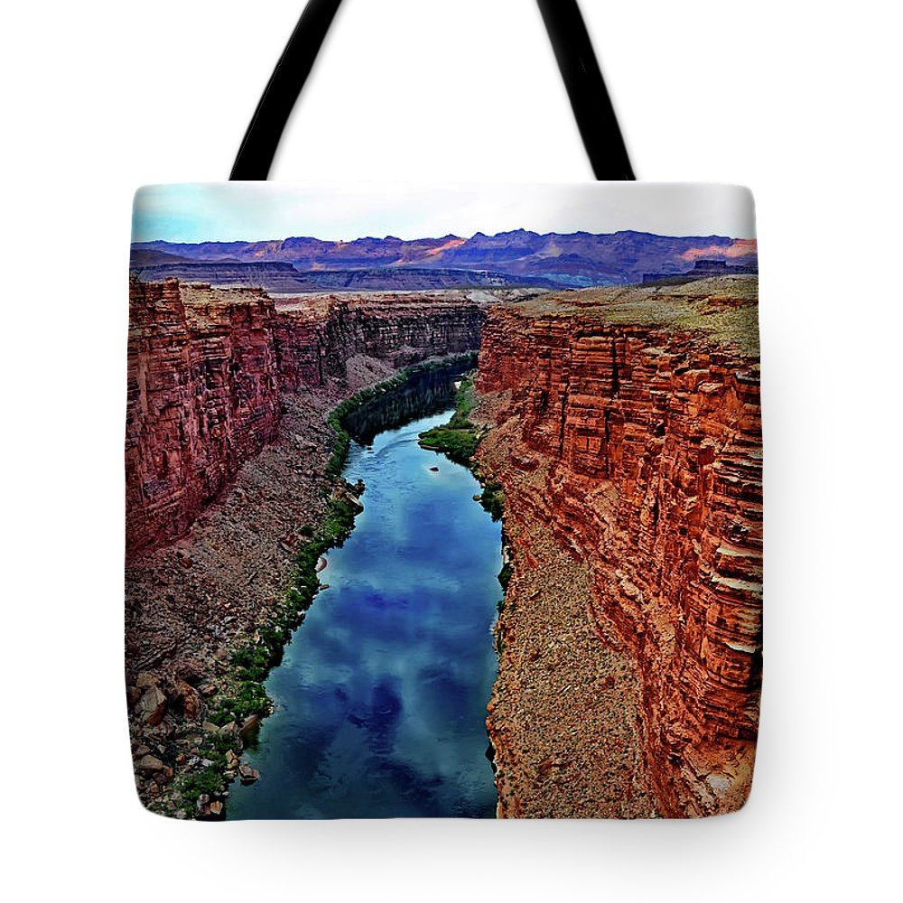 Arizona Tote Bag featuring the photograph Colorado River From The Navajo Bridge 001 by George Bostian