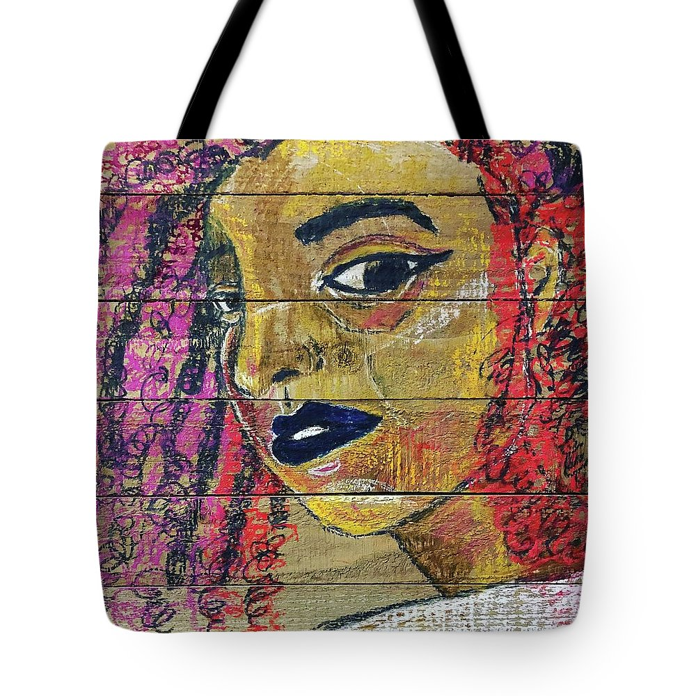 Colors Tote Bag featuring the drawing Colorful Curls by Che' La'Mora