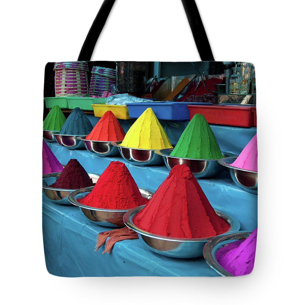 In A Row Tote Bag featuring the photograph Colorful Dyes At Indian Market by Photo By Meredith Narrowe