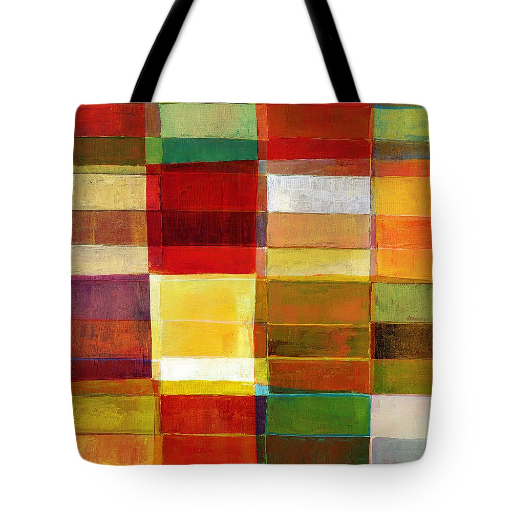 Rectangle Tote Bag featuring the photograph Colorful Painted Block Pattern by Qweek