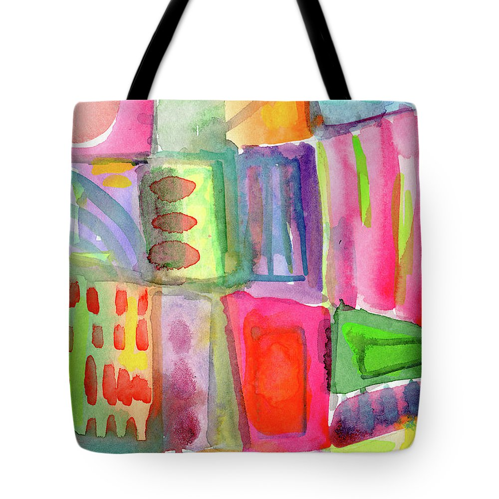 Colorful Tote Bag featuring the painting Colorful Patchwork 2- Art by Linda Woods by Linda Woods