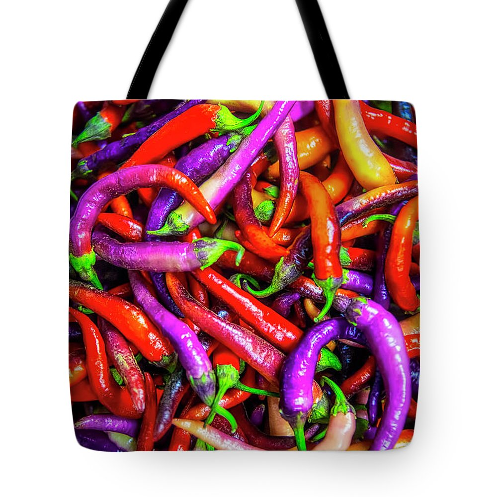 Colorful Tote Bag featuring the photograph Colorful Peppers by Garry Gay