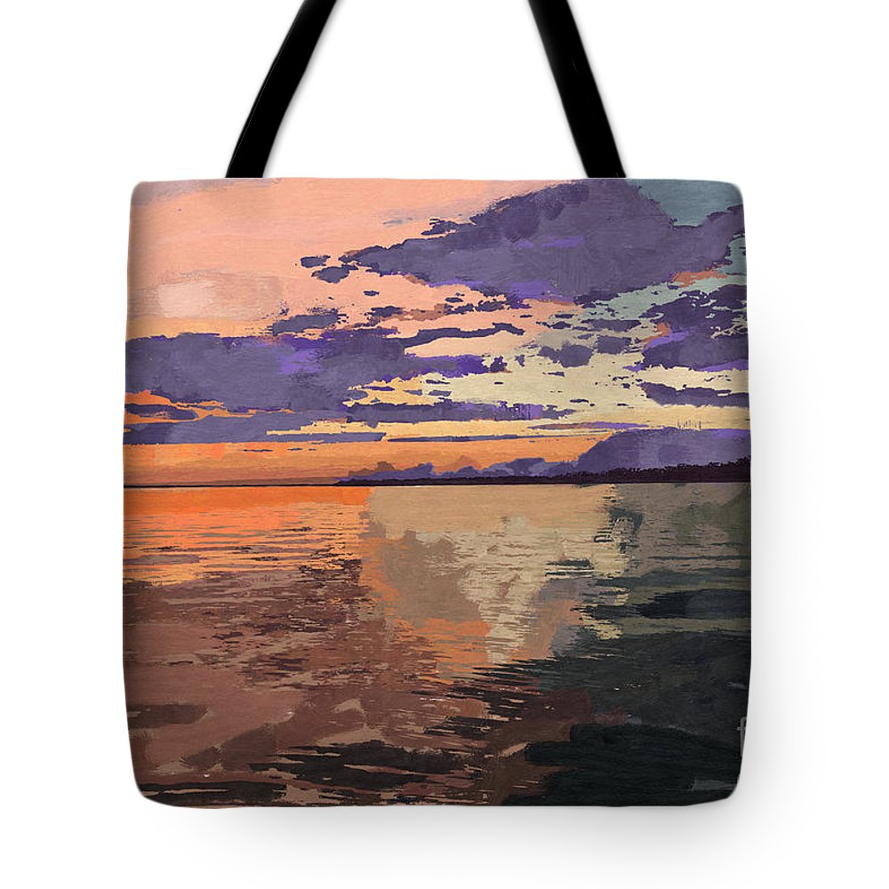 Sunset Tote Bag featuring the painting Colorful Sunset Over The Gulf Of Mexico by D Tao