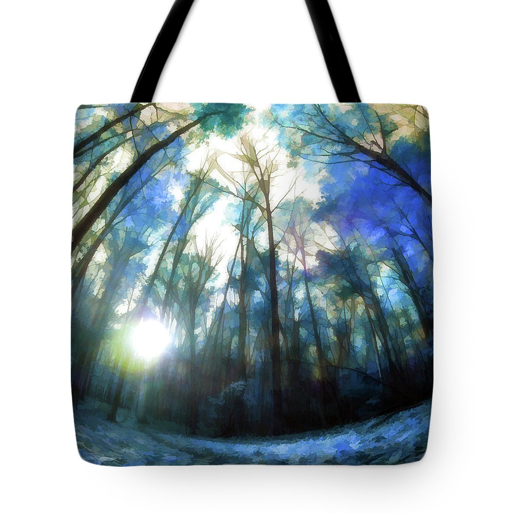 Tote Bag featuring the digital art Colorful Trees Ix by Tina Baxter