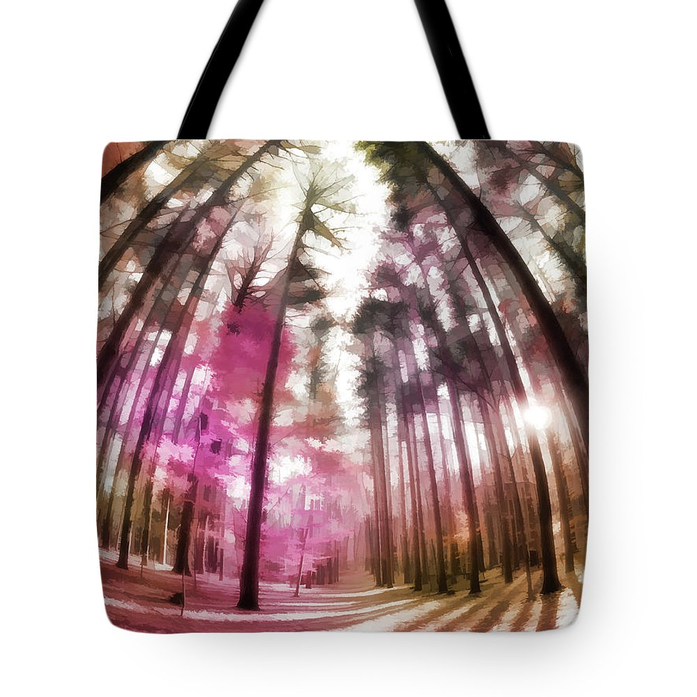 Tote Bag featuring the digital art Colorful Trees V by Tina Baxter