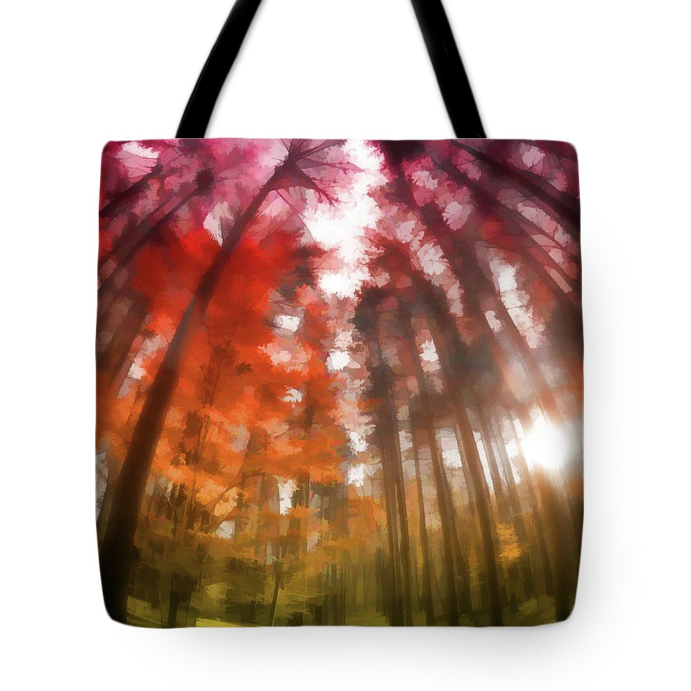 Tote Bag featuring the digital art Colorful Trees Vii by Tina Baxter