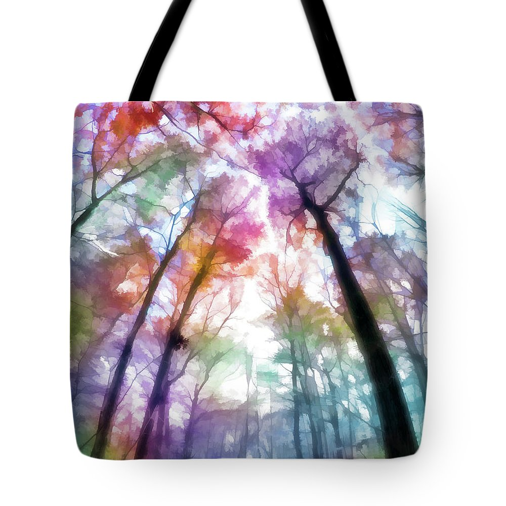 Tote Bag featuring the digital art Colorful Trees Xiii by Tina Baxter