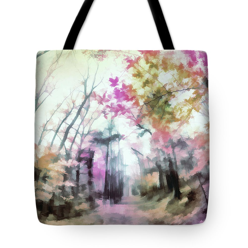 Tote Bag featuring the digital art Colorful Trees Xiv by Tina Baxter