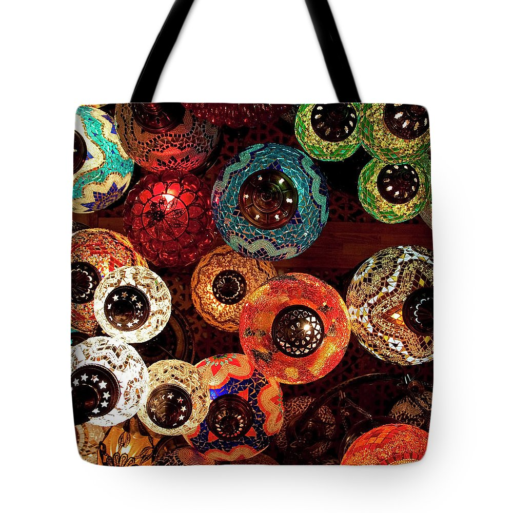 Antique Shop Tote Bag featuring the photograph Colorful Turkish Lanterns From The by Wldavies