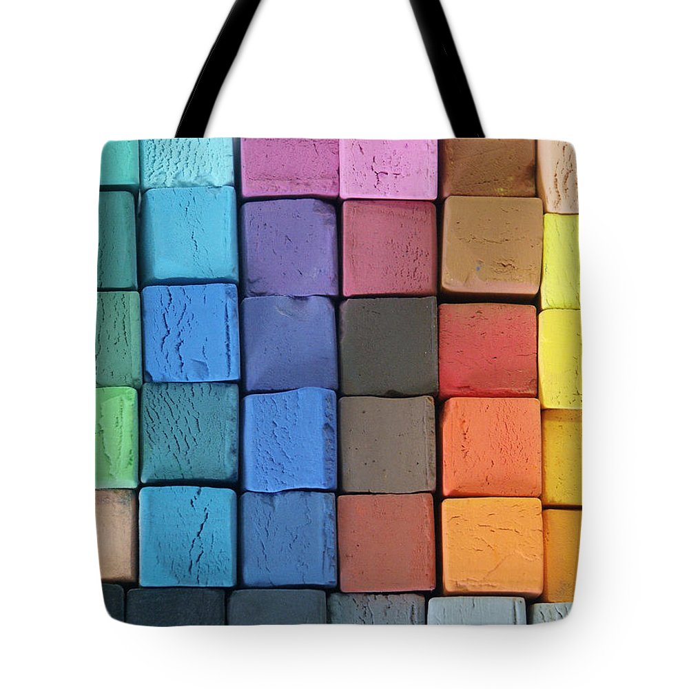 Block Shape Tote Bag featuring the photograph Coloured Pastels by Mevans