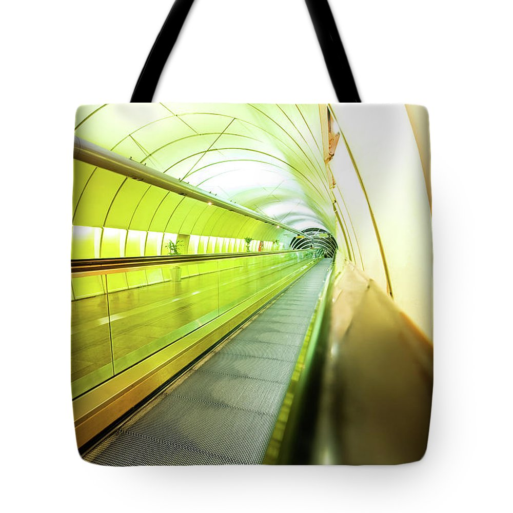 Pedestrian Tote Bag featuring the photograph Colourful Walkway by Nikada