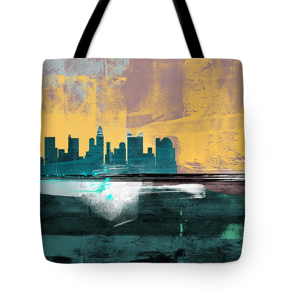 Columbus Tote Bag featuring the mixed media Columbus Abstract Skyline I by Naxart Studio
