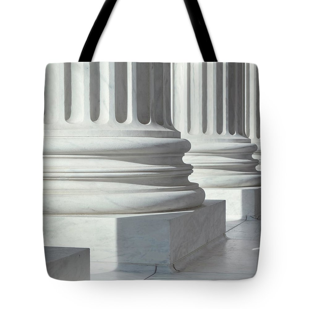 21st Century Tote Bag featuring the photograph Column Outside U.s. Supreme Court by Drnadig