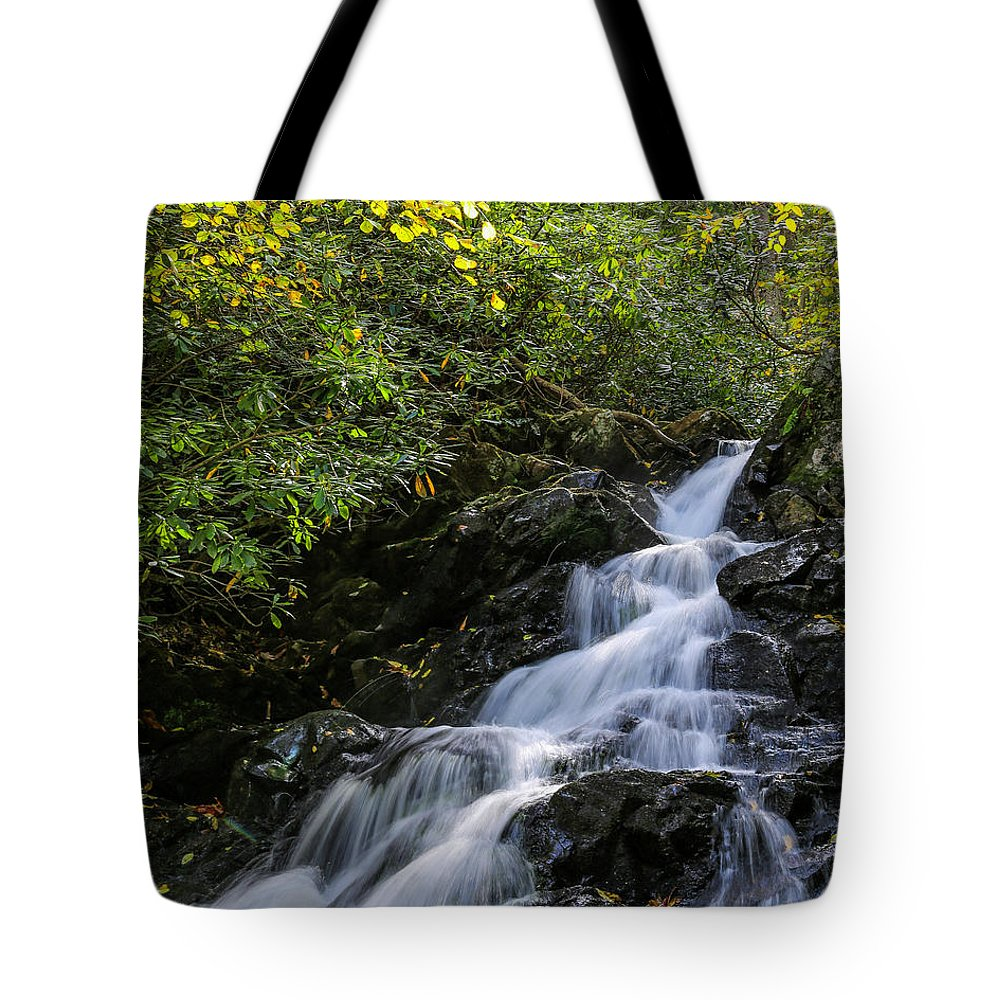 Waterfall Tote Bag featuring the photograph Comer Creek Falls by Bluemoonistic Images