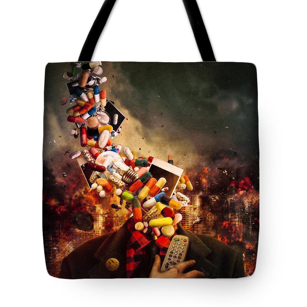Helicopter Digital Art Tote Bags