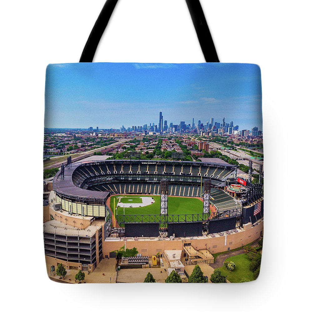 Chicago Tote Bag featuring the photograph Comiskey Park - Chicago White Sox by Bobby King