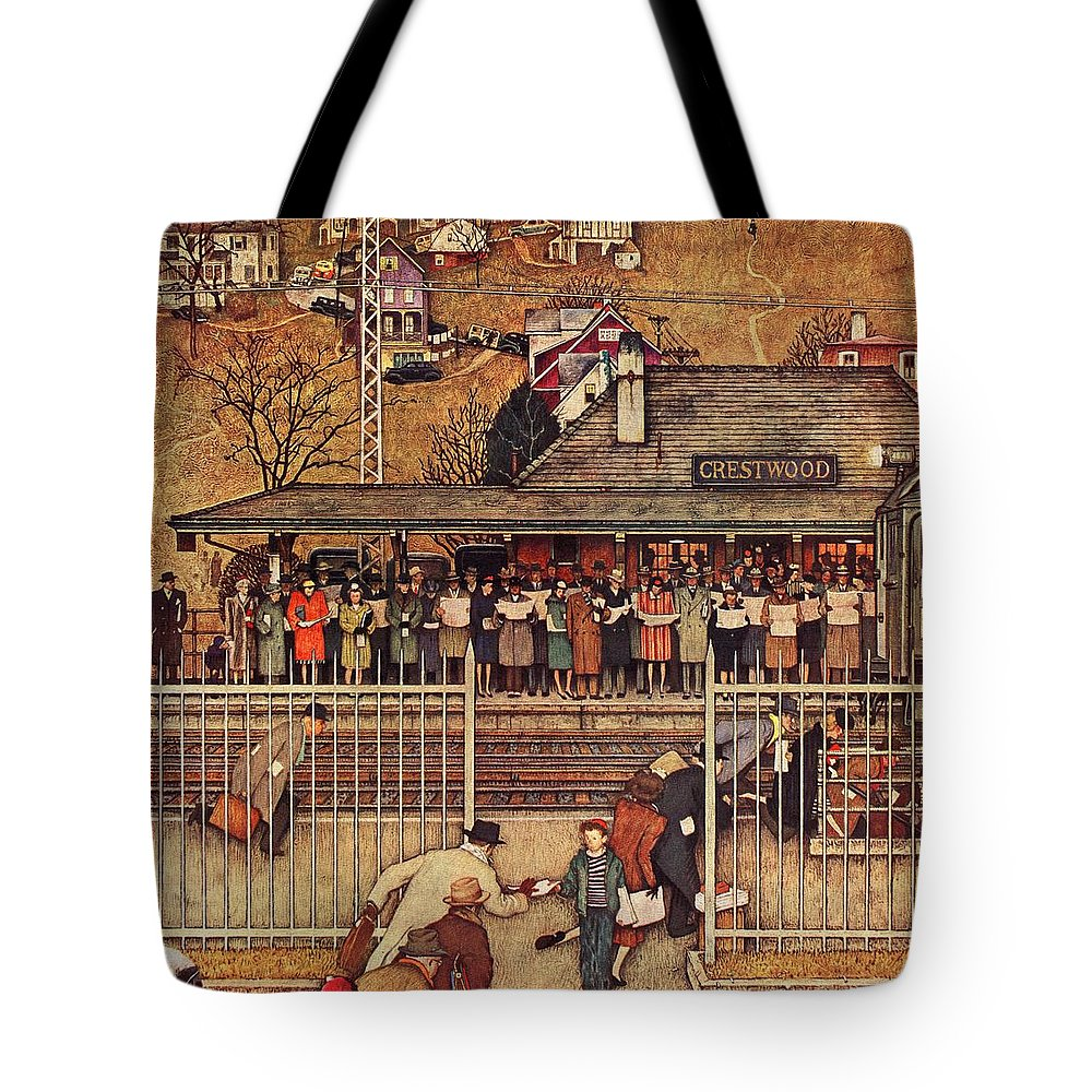 Commuters Tote Bag featuring the drawing Commuters by Norman Rockwell