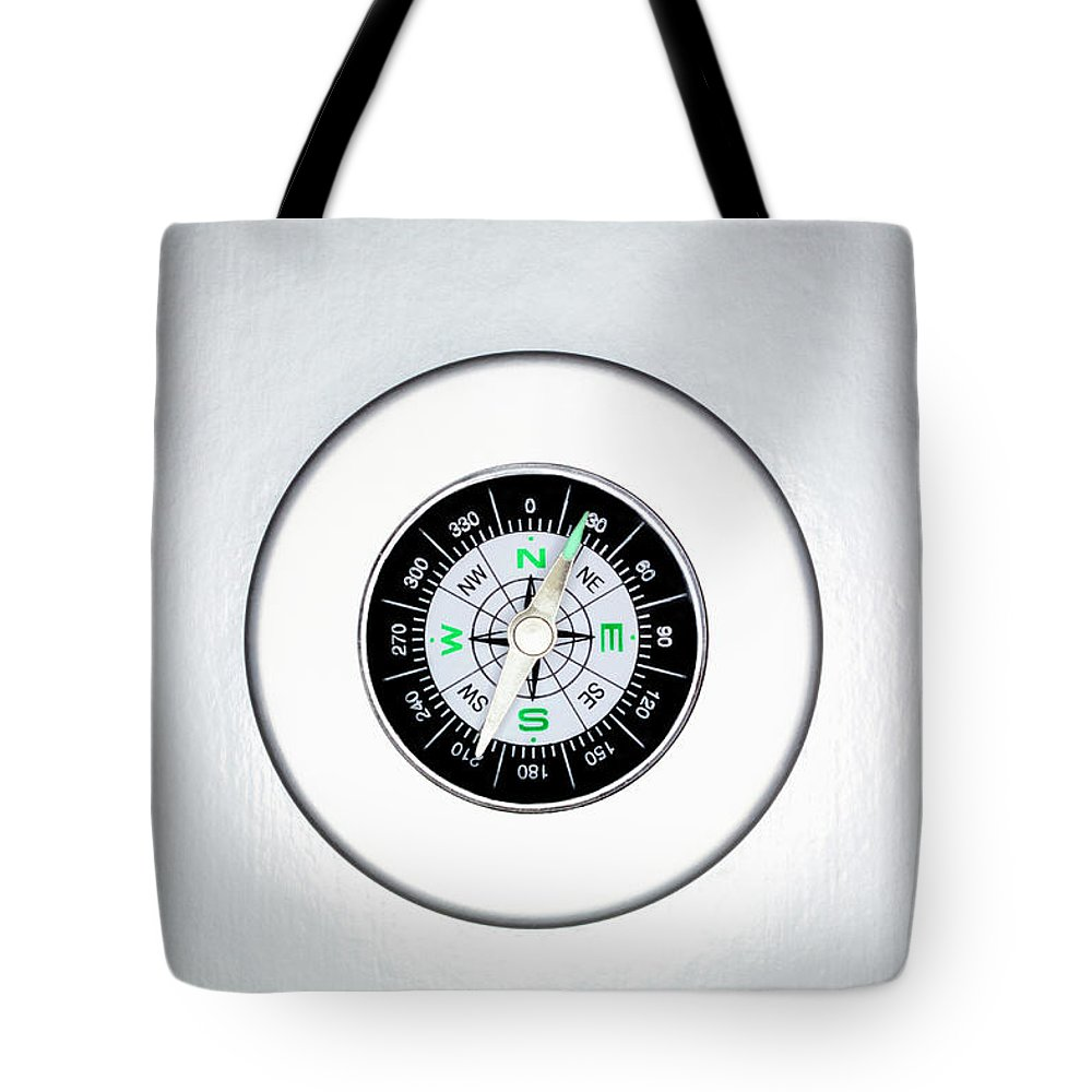 White Background Tote Bag featuring the photograph Compass, Overhead View by Martin Poole