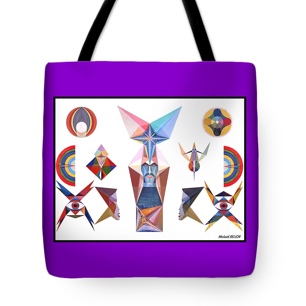 Art Tote Bag featuring the painting Composition 2019 by Michael Bellon