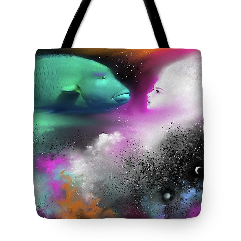 Tote Bag featuring the painting Confrontation by Artist4You