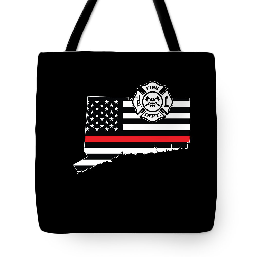 Firefighter-appreciation Tote Bag featuring the digital art Connecticut Firefighter Shield Thin Red Line Flag by Jean-Baptiste Perie