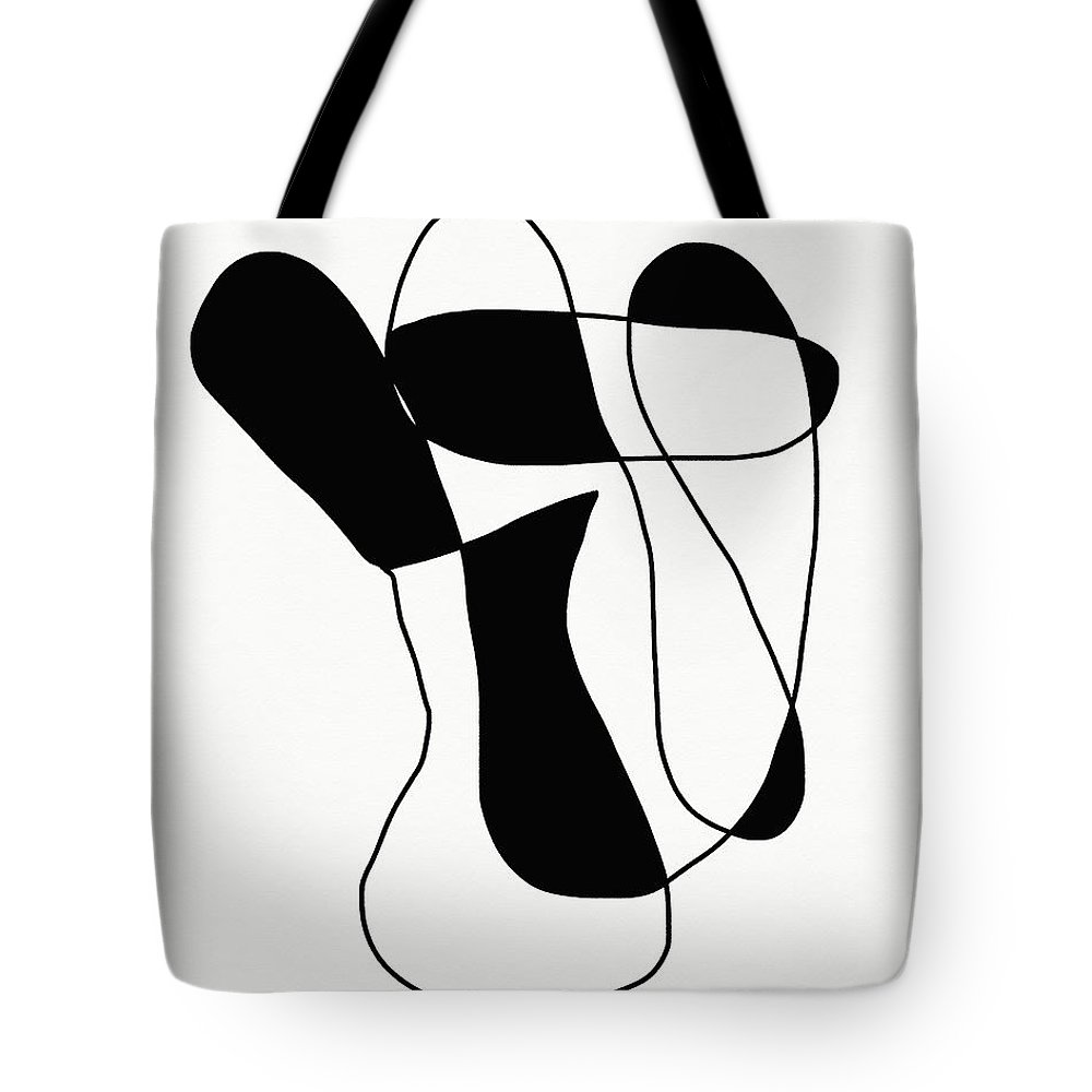 Modern Tote Bag featuring the mixed media Connections 1- Minimalist Art By Linda Woods by Linda Woods