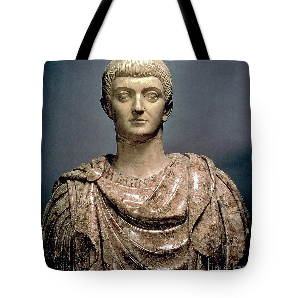 Constantine The Great Tote Bag featuring the sculpture Constantine I by Roman School