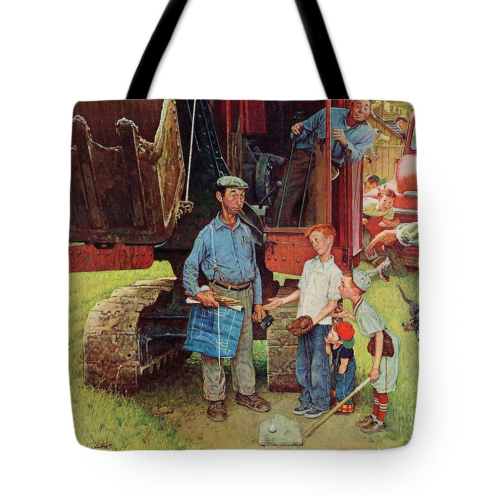 Baseball Tote Bag featuring the drawing Construction Crew by Norman Rockwell