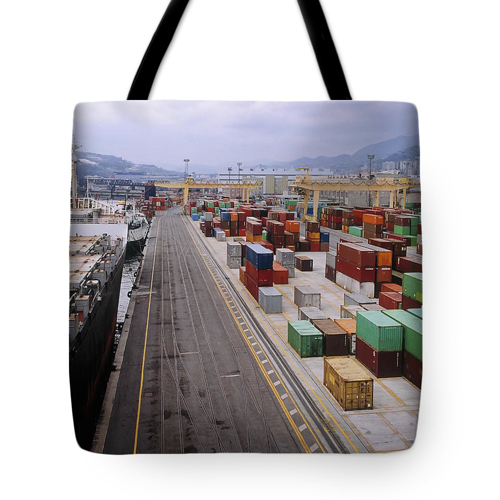 Freight Transportation Tote Bag featuring the photograph Container Shipping, Port Of Genoa, Italy by Alberto Incrocci