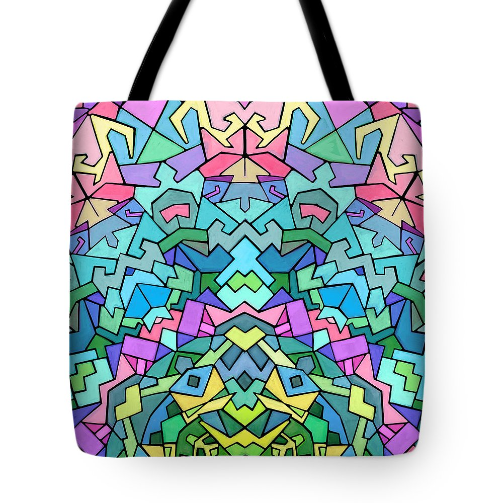 Nonobjective Tote Bag featuring the digital art Cosmic Lock by James Fryer