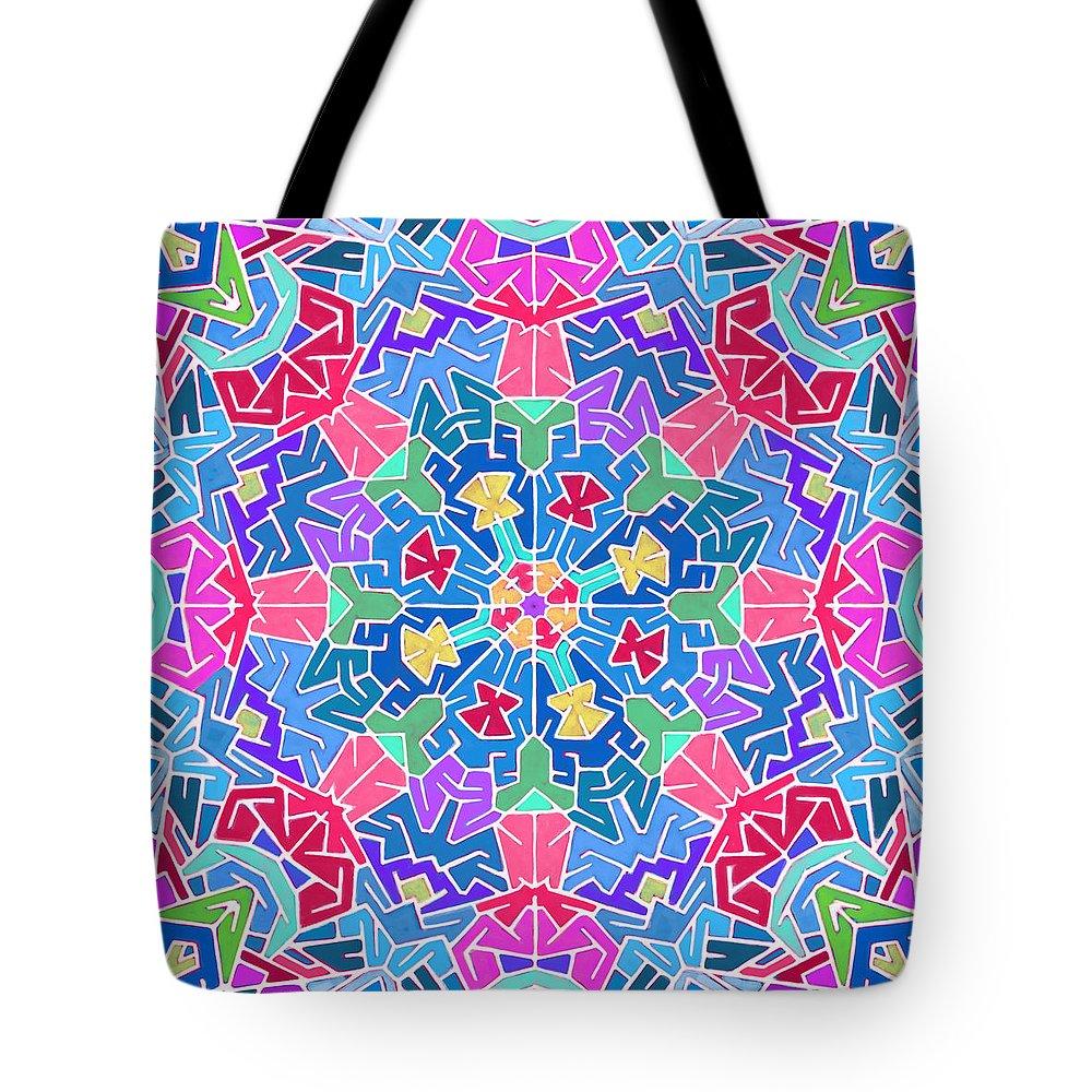 Mandala Tote Bag featuring the digital art Cosmic Sign Post by James Fryer