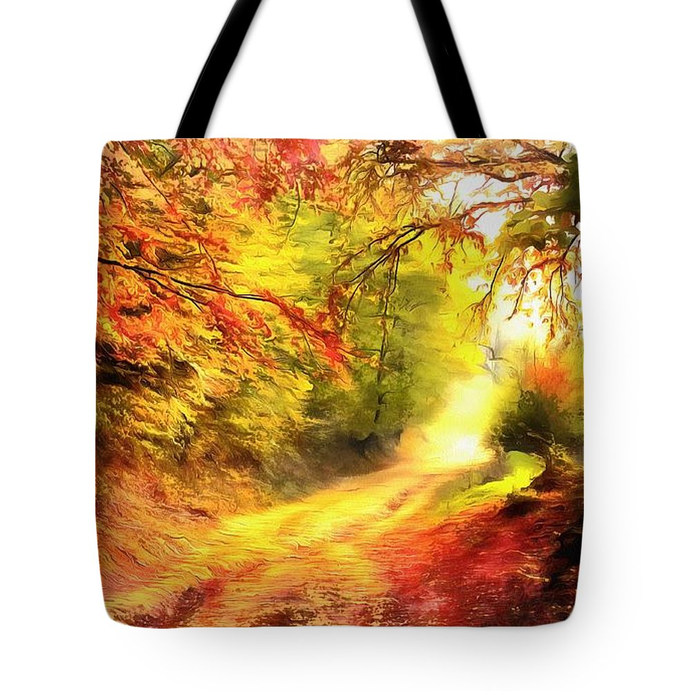 Harry Warrick Artist Tote Bag featuring the painting Country Road by Harry Warrick