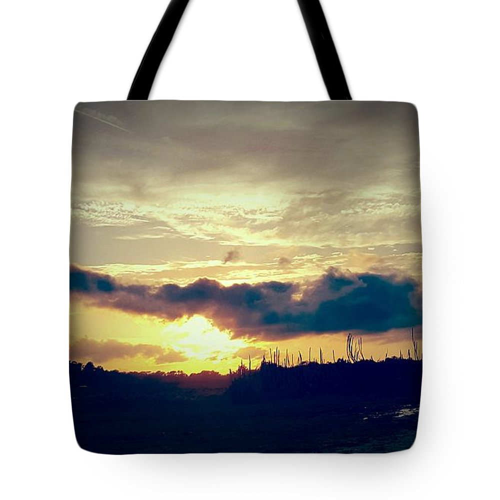 Landscape Tote Bag featuring the digital art Country Sunset In Pavo by Nichole King