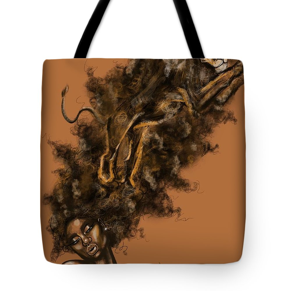 Lion Tote Bag featuring the painting Courageous Me by Artist RiA