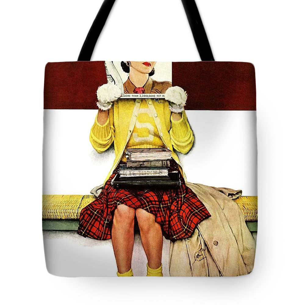 Covers Tote Bag featuring the drawing Cover Girl by Norman Rockwell